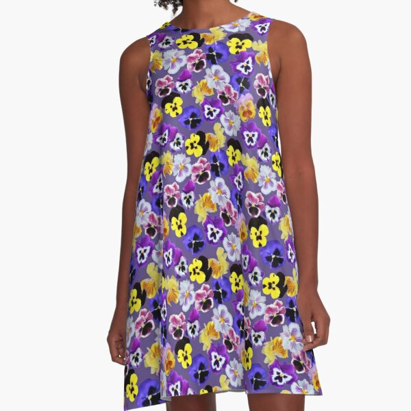 Pansy Mixture on Violet A-Line Dress