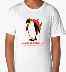 Fire Penguin T-Shirt Weird Cute Penguin Long T-Shirt