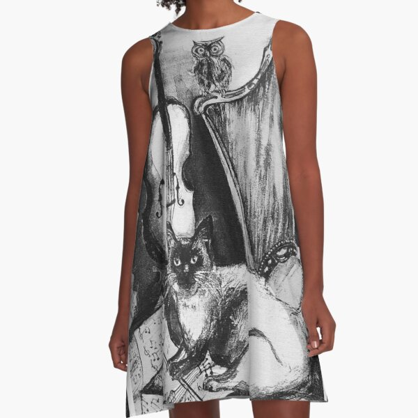 MUSICAL CAT AND OWL WITH MUSIC INSTRUMENTS Black and White A-Line Dress