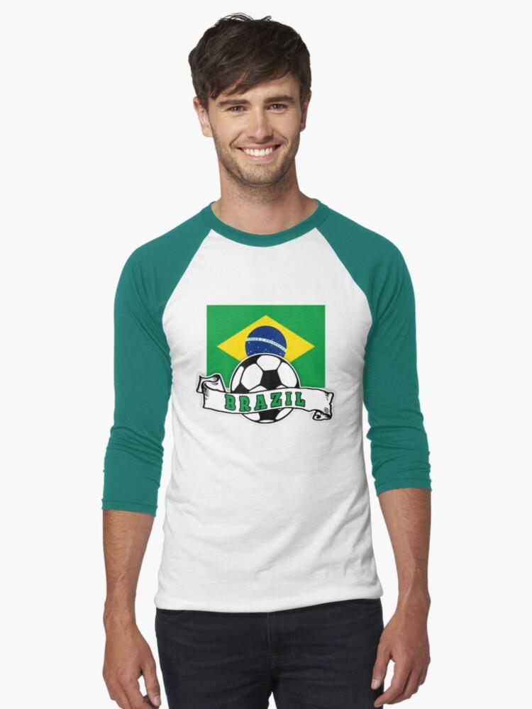 Brazilian SOCCER Brazil FLAG Men's Baseball ¾ T-Shirt Front
