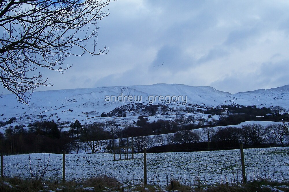 snow on mam tor  by andrew  gregory