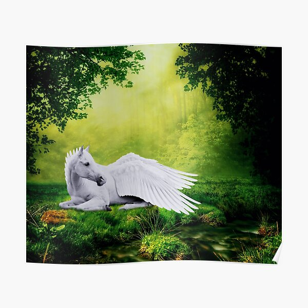Resting Pegasus / Mythical Winged Horse Poster