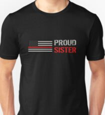 Firefighter: Proud Sister (Black Flag, Red Line) Unisex T-Shirt