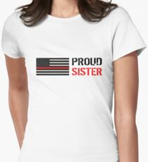 Firefighter: Proud Sister (Black Flag, Red Line) Women's Fitted T-Shirt