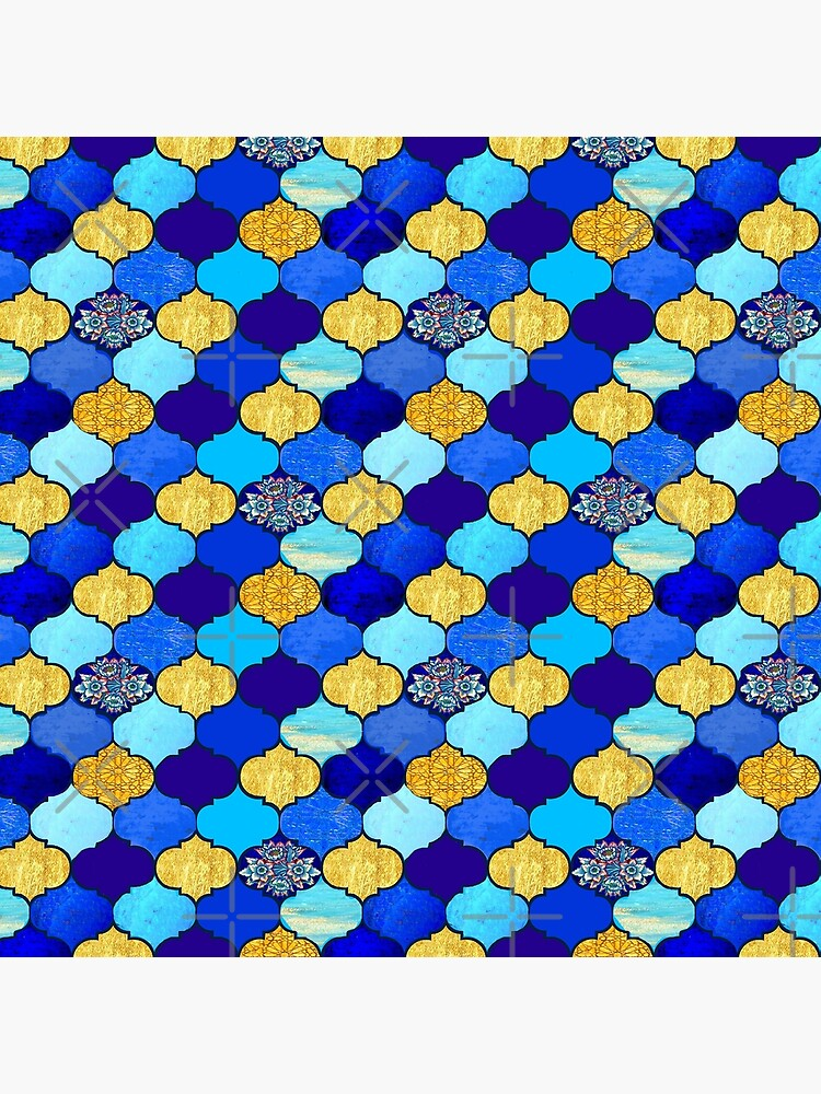 blue moroccan tiles with turquoise and gold,  by MagentaRose