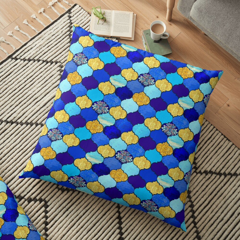 blue moroccan tiles with turquoise and gold,  Floor Pillow
