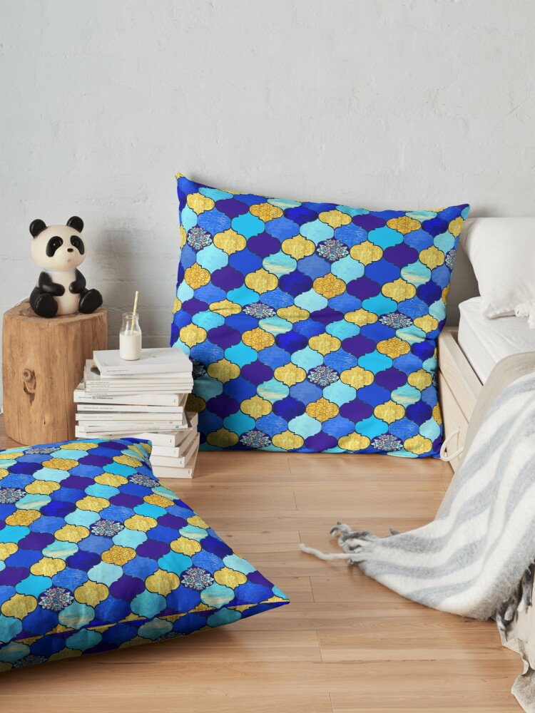 Alternate view of  blue moroccan tiles with turquoise and gold,  Floor Pillow