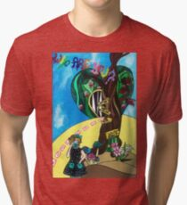 Life, a fairy tale - Alice in Wonderland wooden panel  Tri-blend T-Shirt
