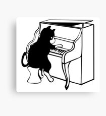 A cat playing the piano Canvas Print
