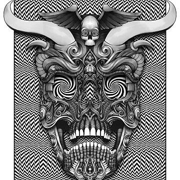 Horned Skull First Screen Print by DooodleGod by DooodleGod