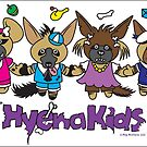 Hyena Kids Dancing - on a sticker! by PegMcClureLLC