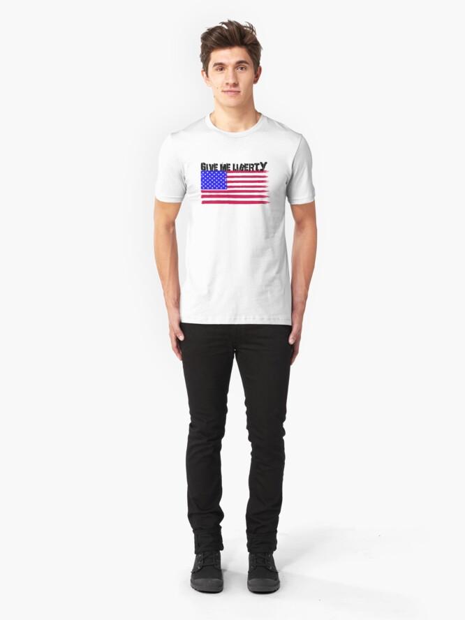 Alternate view of Give Me Liberty Patriotic U.S. Flag Slim Fit T-Shirt