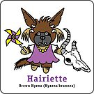 Hairiette the Brown Hyena - on a sticker! by PegMcClureLLC