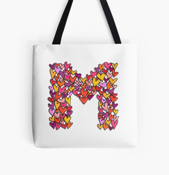 Heart Letter M All Over Print Tote Bag