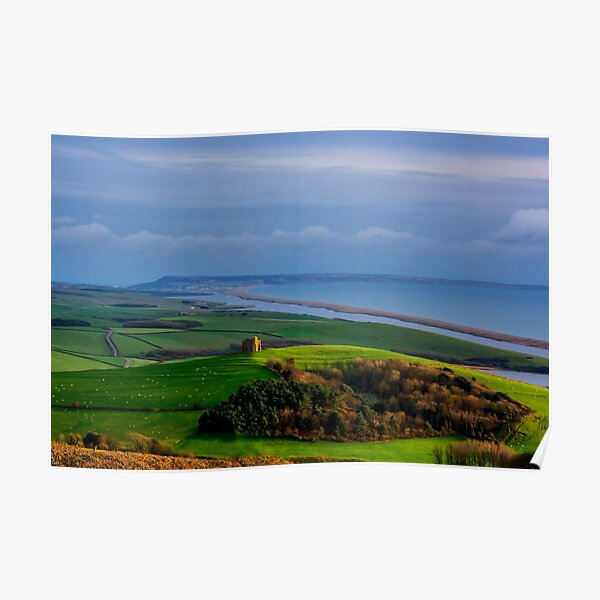 St Catherines Chapel and Chesil Beach Poster