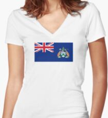 Flag of Ascension Island  Women's Fitted V-Neck T-Shirt