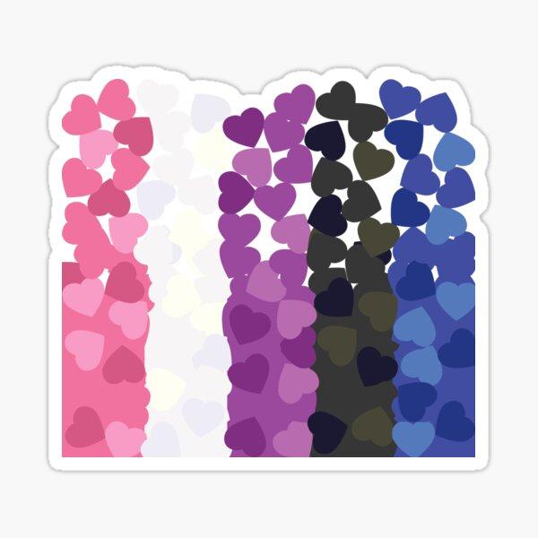 Genderfluid Pride Flag- Falling Hearts Sticker