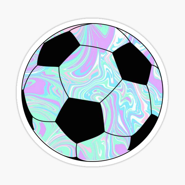 ballon de football bleu / violet Sticker