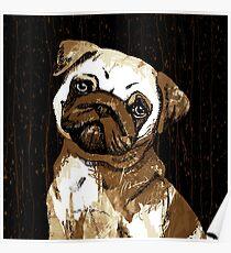 Pug Coffee Art Poster