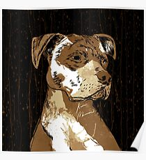 Pitbull Coffee Art Poster