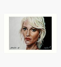 battlestar galactica - cylon 6 - tricia helfer - oil on canvas Art Print