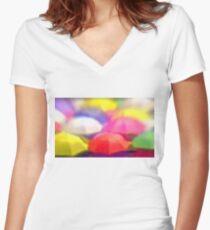 """Umbrella Rainbow"", Photo / Digital Painting Women's Fitted V-Neck T-Shirt"