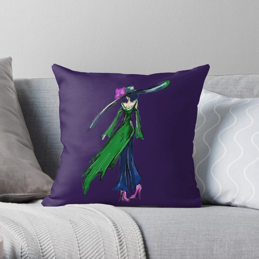 Girl in the Green Coat Throw Pillow