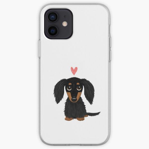 Perro de dibujos animados Dachshund de pelo largo negro y tostado con corazón Funda blanda para iPhone