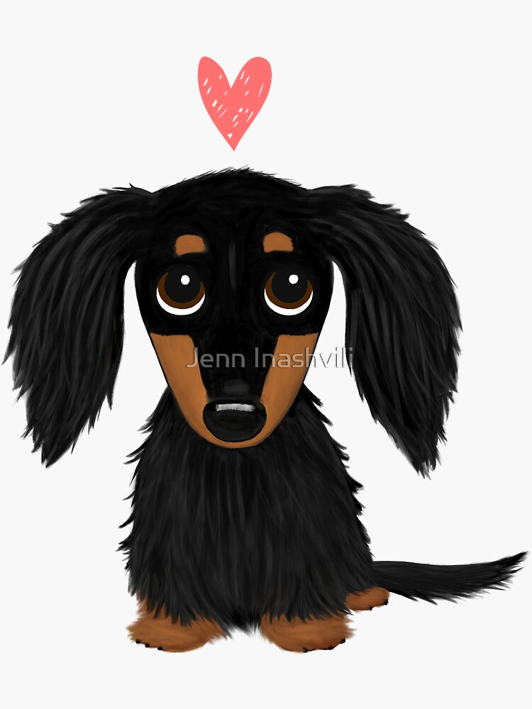 Black and Tan Longhaired Dachshund Cartoon Dog with Heart by ShortCoffee