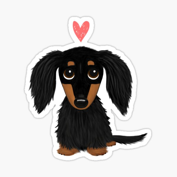 Black and Tan Longhaired Dachshund Cartoon Dog with Heart Sticker