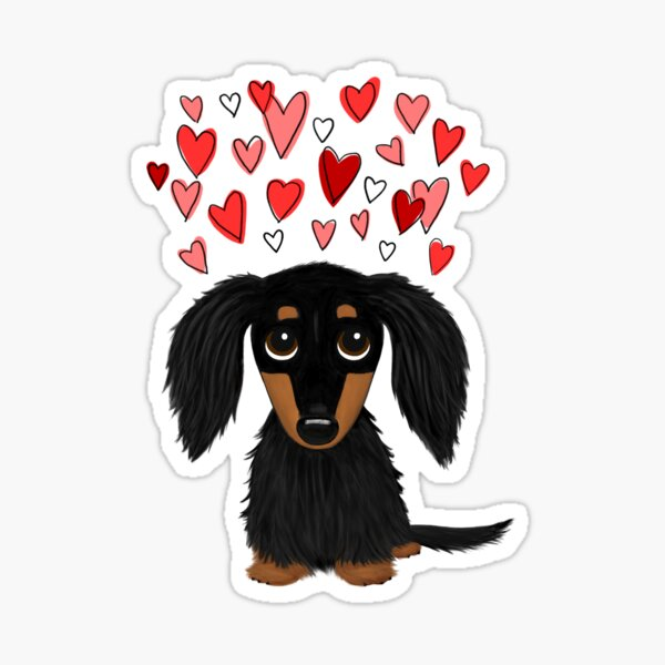 Black and Tan Longhaired Dachshund with Hearts Sticker