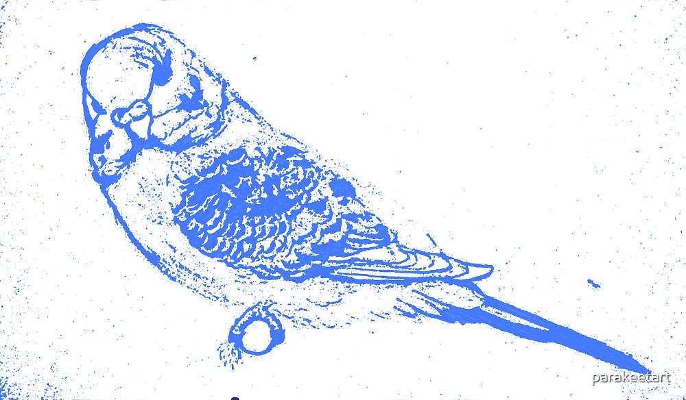 Blue Budgie by parakeetart