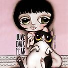 Little child big green eyes, black hair and a black and white cat by margherita arrighi