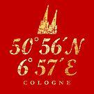 Kölner Dom Koordinaten Cologne (Vintage Gold) von theshirtshops