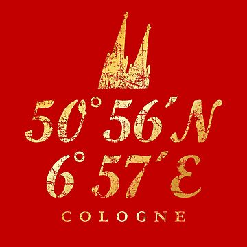 Cologne Cathedral Coordinates Cologne (Vintage Gold) by theshirtshops