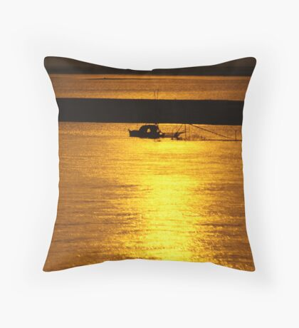 Sunset over the Brahmaptura River, Assam. India. Throw Pillow