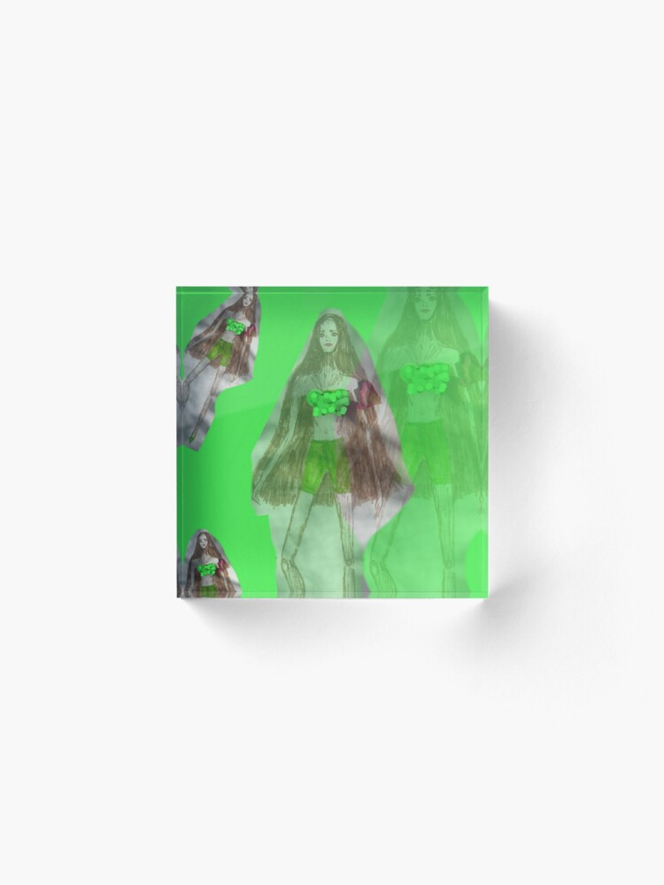 Alternate view of Skinny Girl With Long Hair; Green Background Acrylic Block