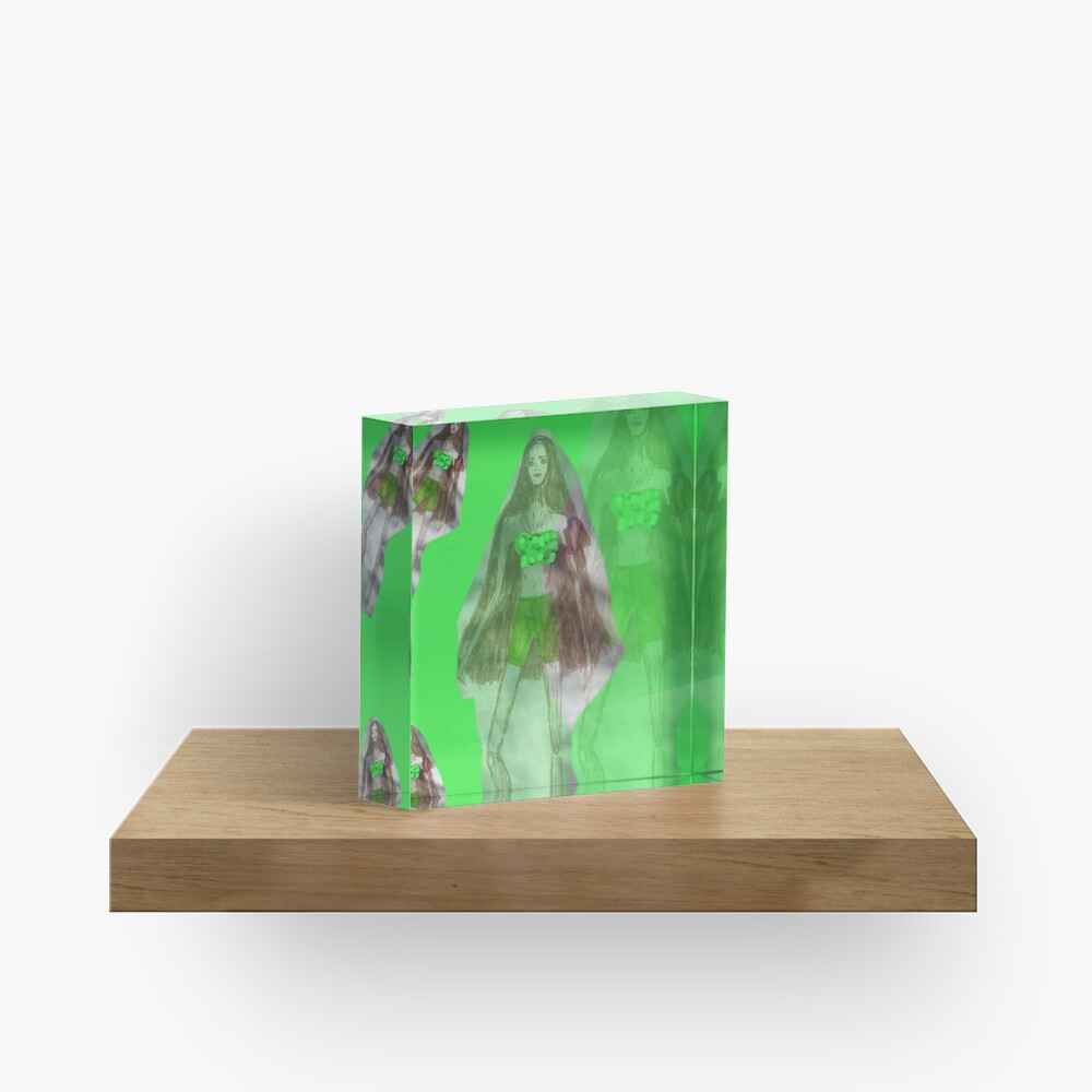 Skinny Girl With Long Hair; Green Background Acrylic Block