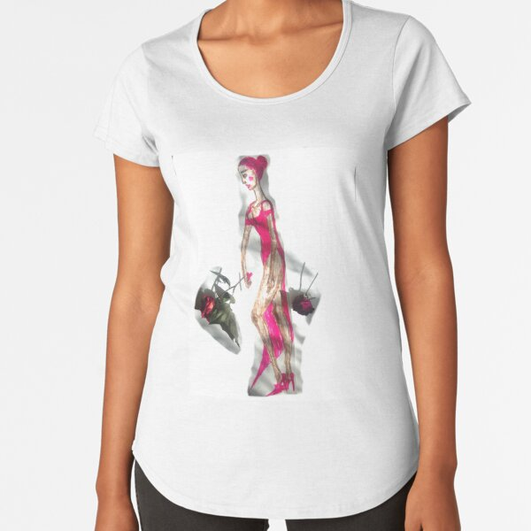 Pink Hair Girl In A Pink Dress Premium Scoop T-Shirt