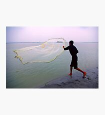 How to throw a fishing net..and catch a cruise vessel! Photographic Print
