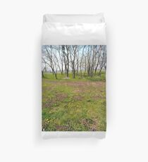 Happiness, Building, Skyscraper, New York, Manhattan, Street, Pedestrians, Cars, Towers, morning, trees, subway, station, Spring, flowers, Brooklyn Duvet Cover