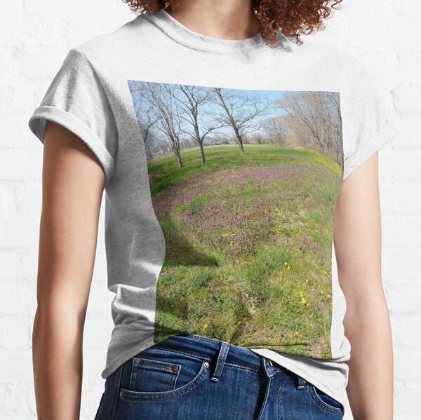 Happiness, Building, Skyscraper, New York, Manhattan, Street, Pedestrians, Cars, Towers, morning, trees, subway, station, Spring, flowers, Brooklyn Classic T-Shirt