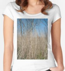 Happiness, Building, Skyscraper, New York, Manhattan, Street, Pedestrians, Cars, Towers, morning, trees, subway, station, Spring, flowers, Brooklyn Women's Fitted Scoop T-Shirt