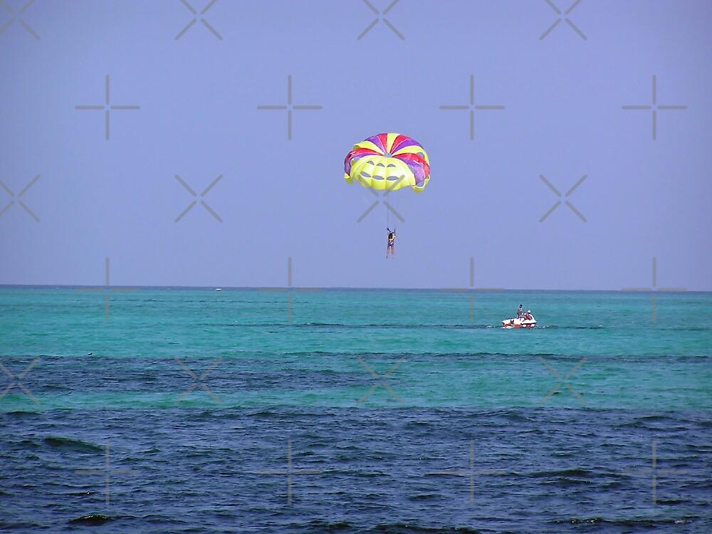 Preparing to land in the water after para-sailing in the Lakshadweep Islands by ashishagarwal74