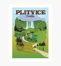 Plitvice Croatia travel poster Art Print