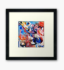 Expressive Abstract People Composition painting Framed Print