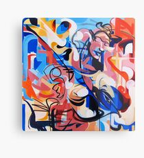Expressive Abstract People Composition painting Metal Print