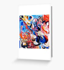 Expressive Abstract People Composition painting Greeting Card