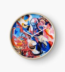 Expressive Abstract People Composition painting Clock