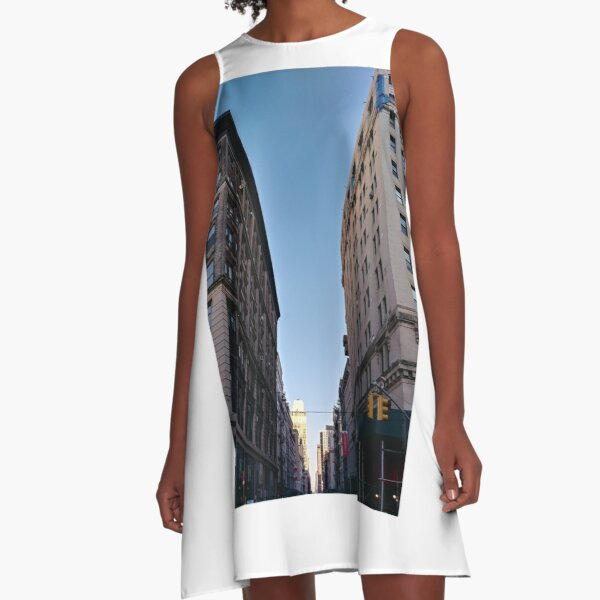 Tower block, High-rise building, Happiness, Building, Skyscraper, New York, Manhattan, Street, Pedestrians, Cars, Towers, morning, trees, subway, station, Spring, flowers, Brooklyn A-Line Dress